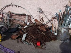 Separated scrap materials.