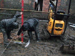 Precision measuring, meet south Bristol clay - Marking the trenches for the new foundations.