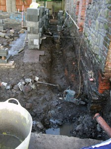 Digging in: A trench for the drains