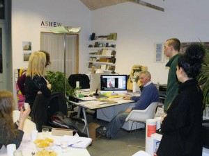 Meeting of prospective residents at Askew Cavanna studio, looking at finishes